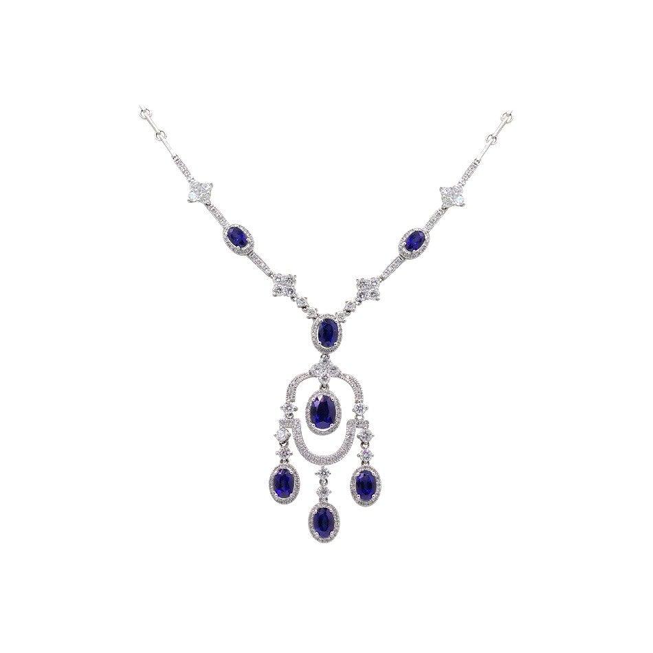 Fashion Blue Sapphire White Diamond White Gold 18 Karat Dangle Necklace