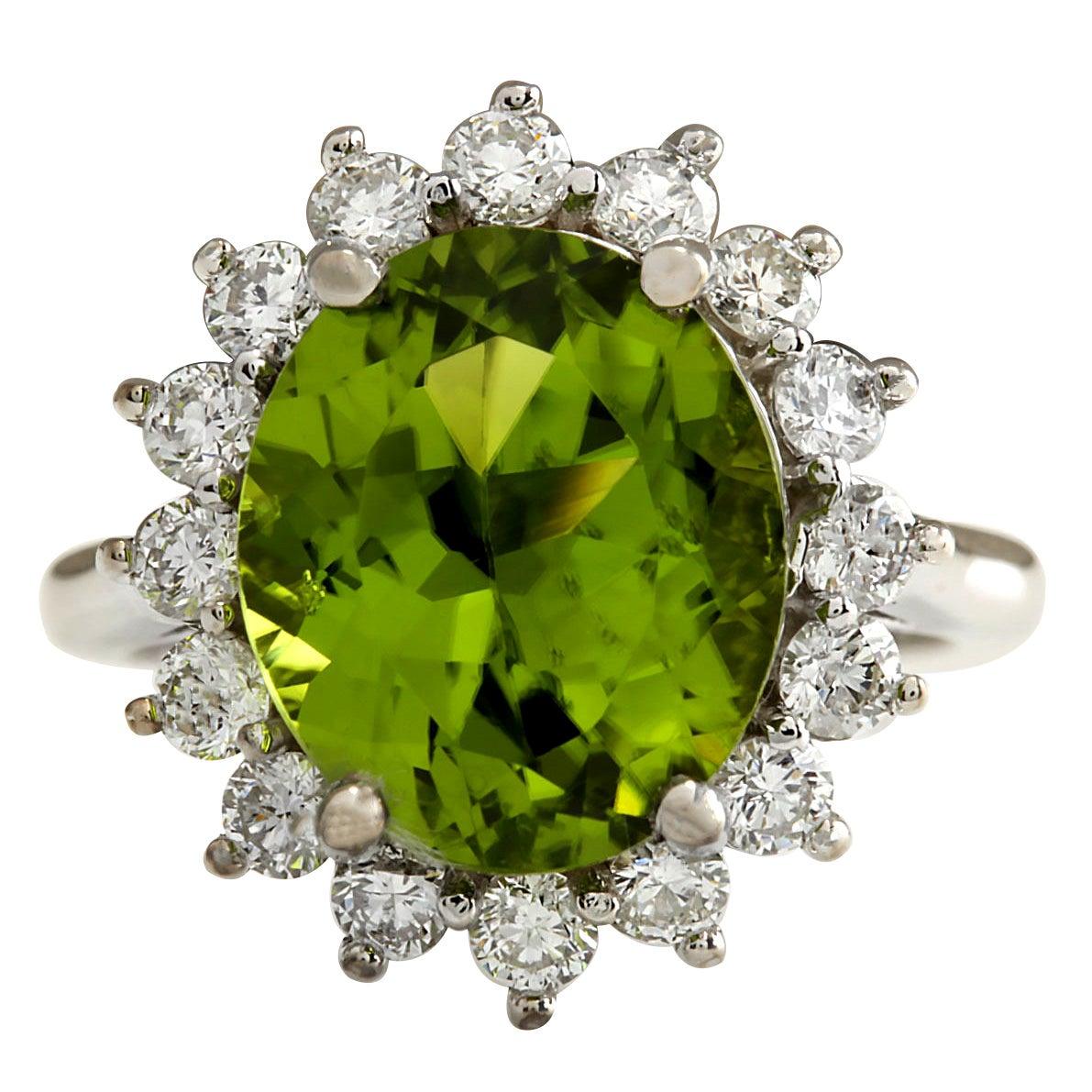 7.59 Carat Natural Peridot 18 Karat White Gold Diamond Ring