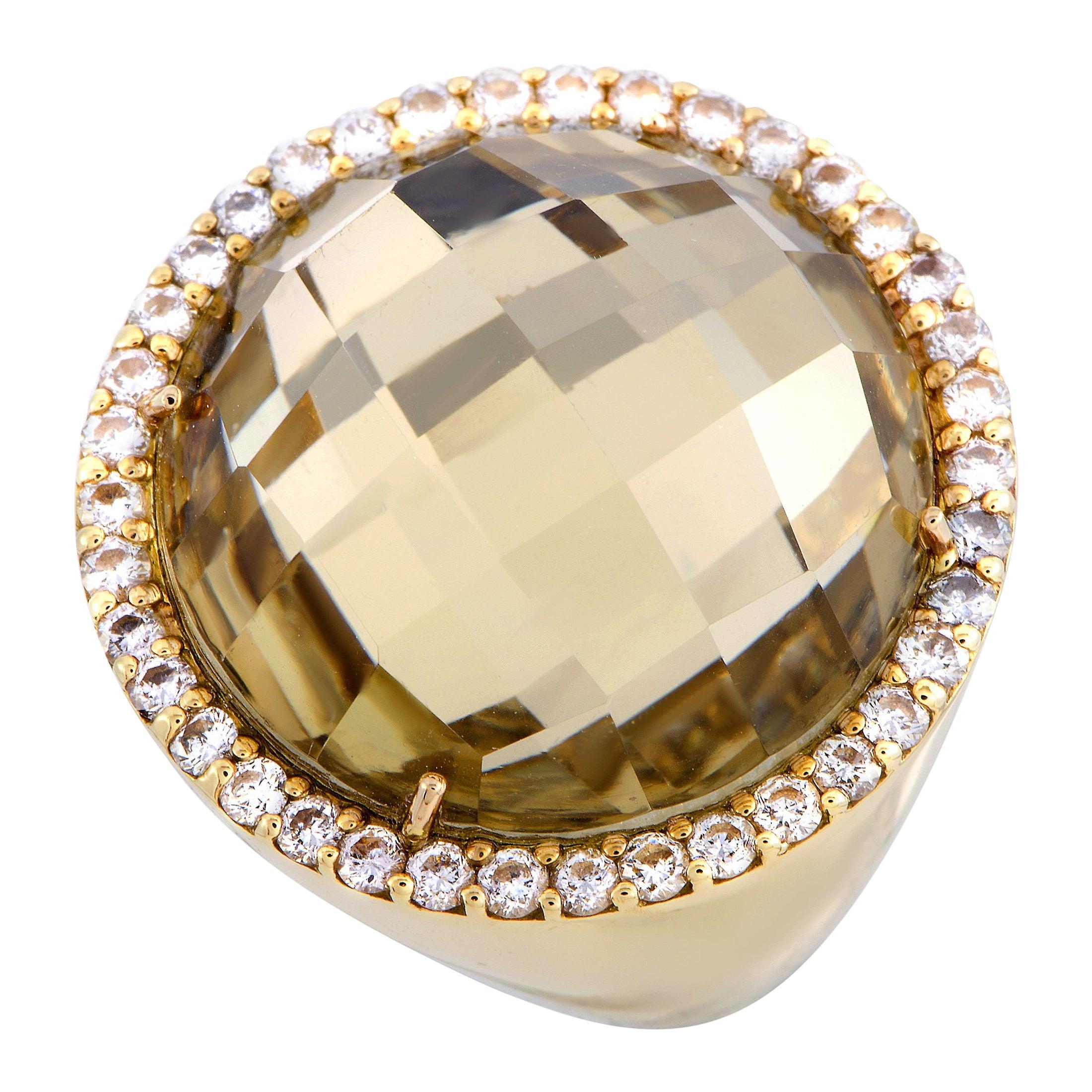 Roberto Coin 18 Karat Yellow Gold Diamond and Rutilated Quartz Ring