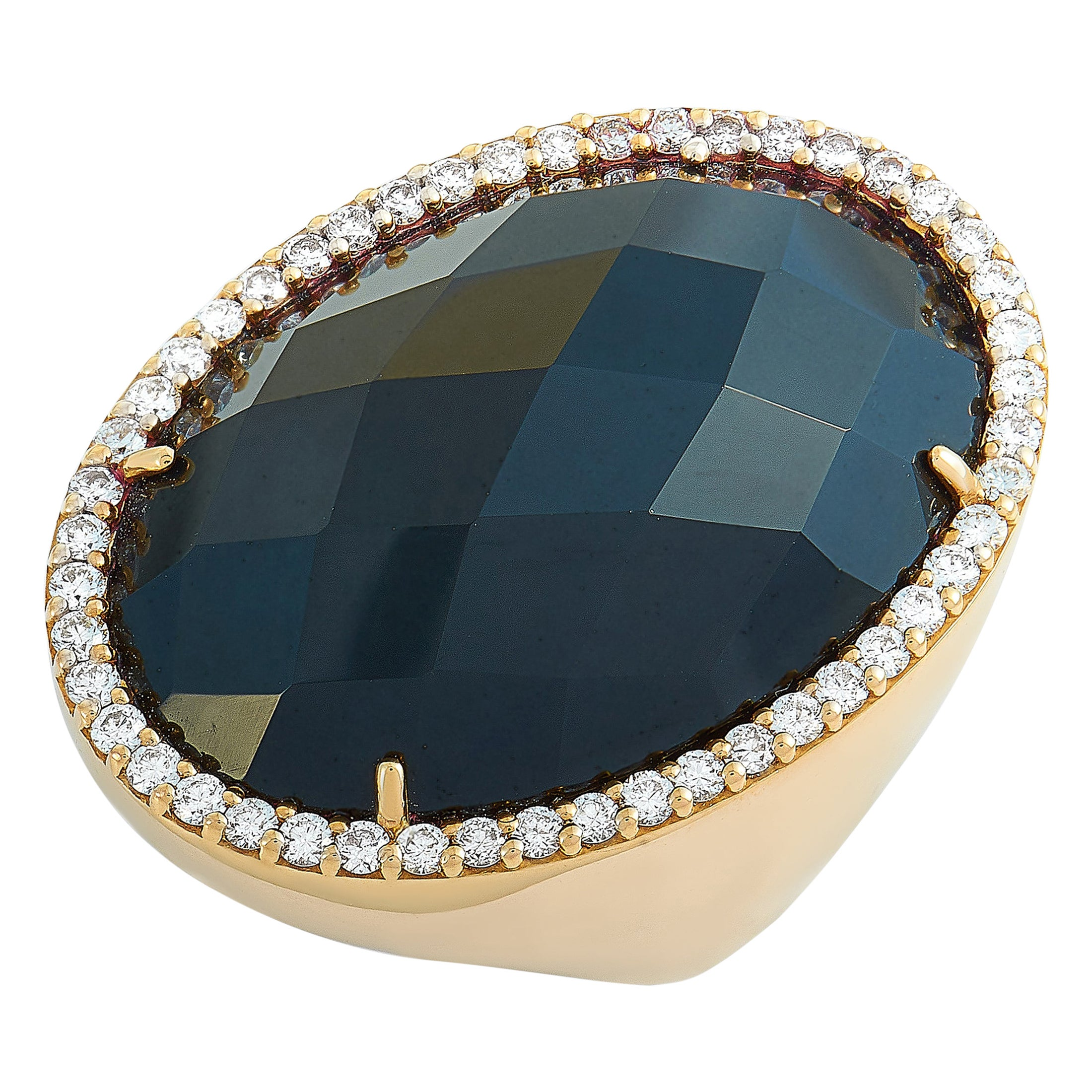 Roberto Coin Cocktail 18 Karat Rose Gold Diamond and Onyx Ring