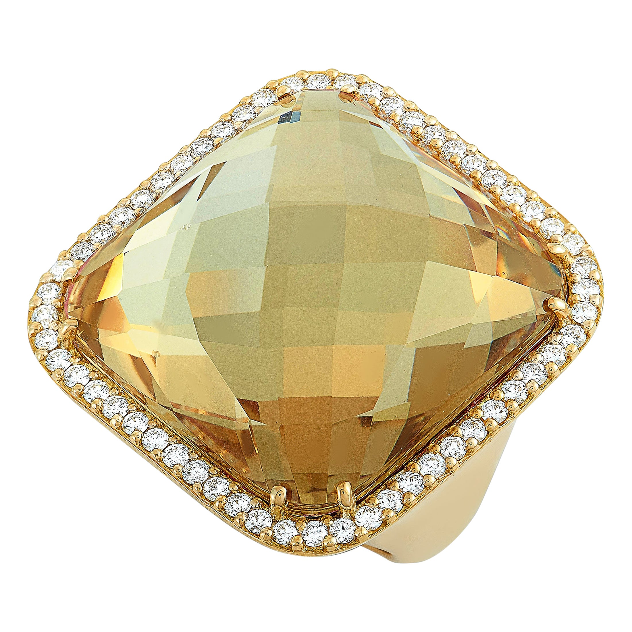 Roberto Coin 18 Karat Yellow Gold Diamond and Smoky Quartz Ring
