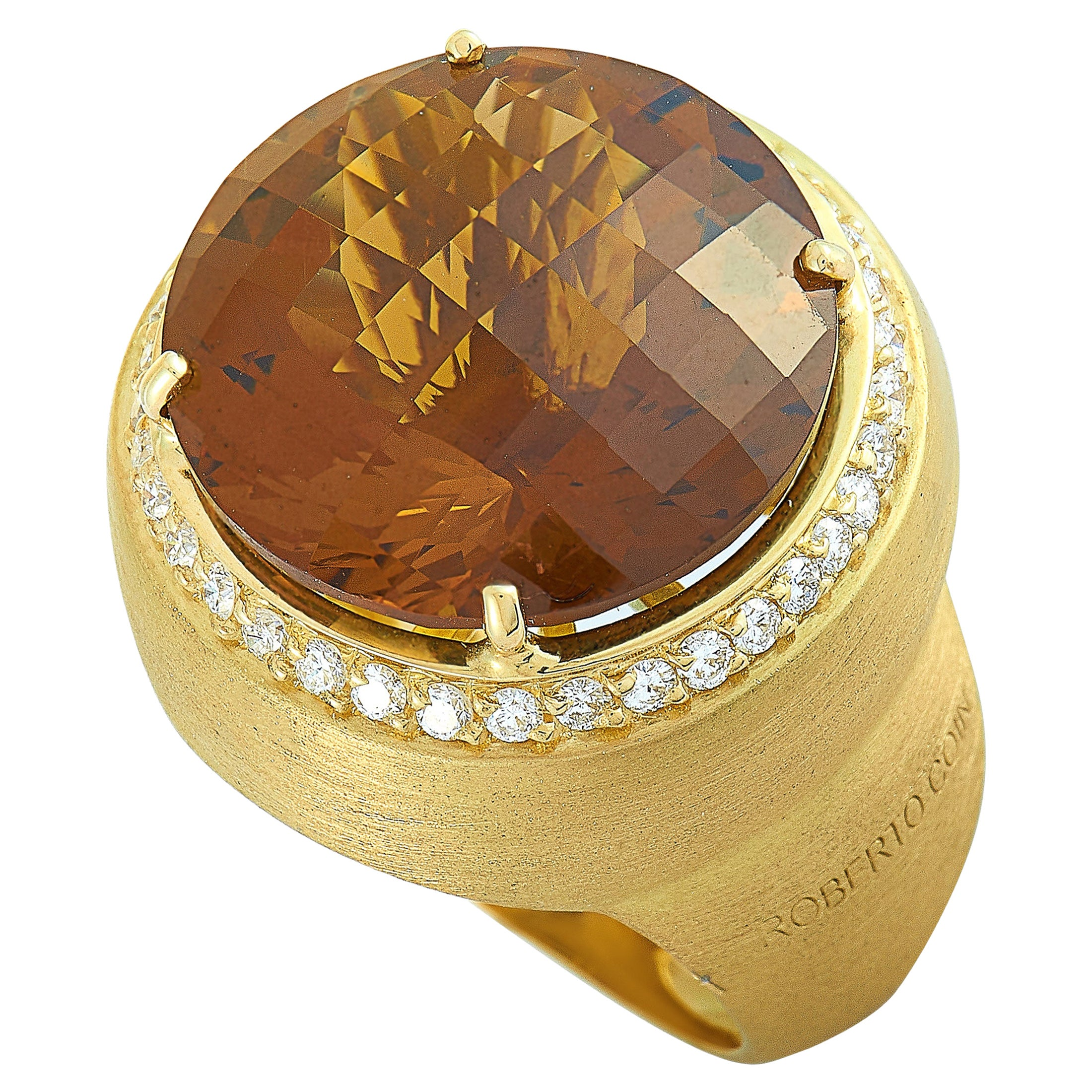 Roberto Coin 18 Karat Yellow Gold Diamond and Honey Quartz Round Ring