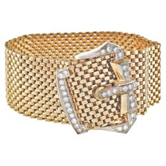 .80 Carat Diamond Gold Mesh Art Deco Buckle Bracelet