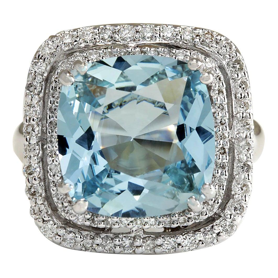 6.92 Carat Natural Aquamarine 18 Karat White Gold Diamond Ring