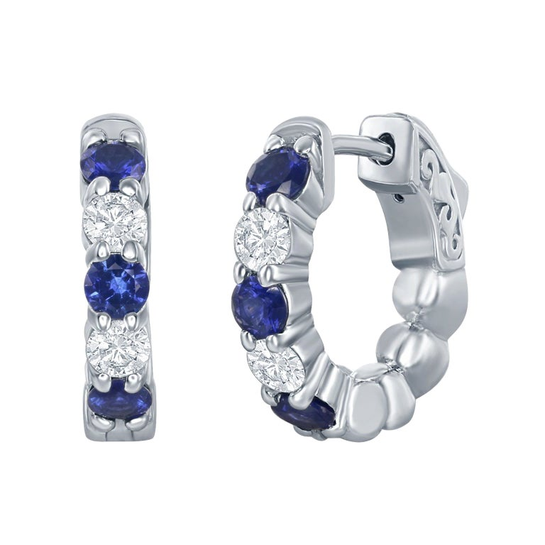 Sapphire and Diamond Huggies Earrings