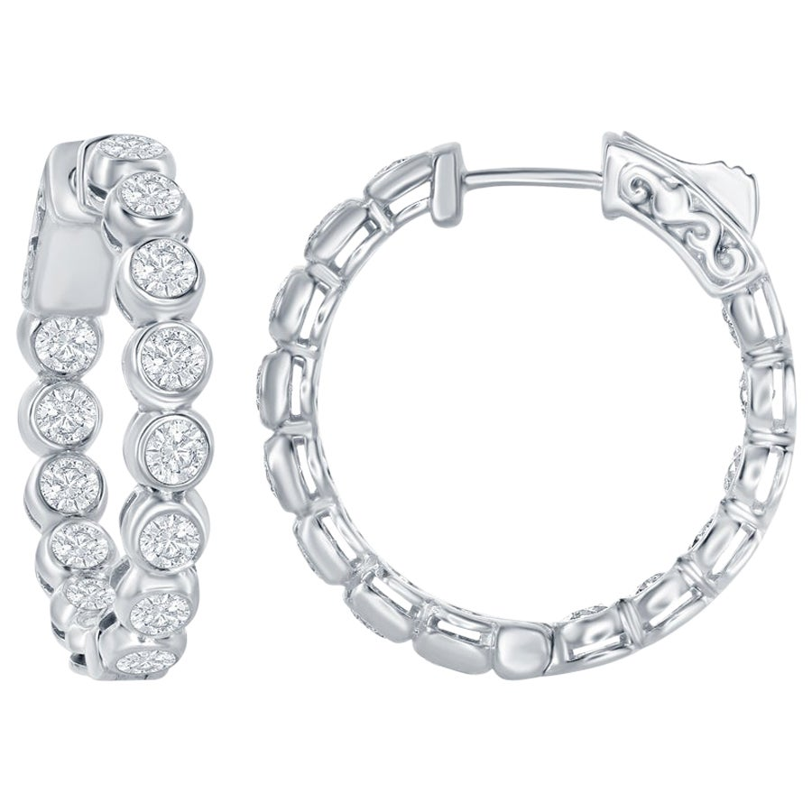 3 Carat Bezel Diamond Hoop Earrings 14 Karat