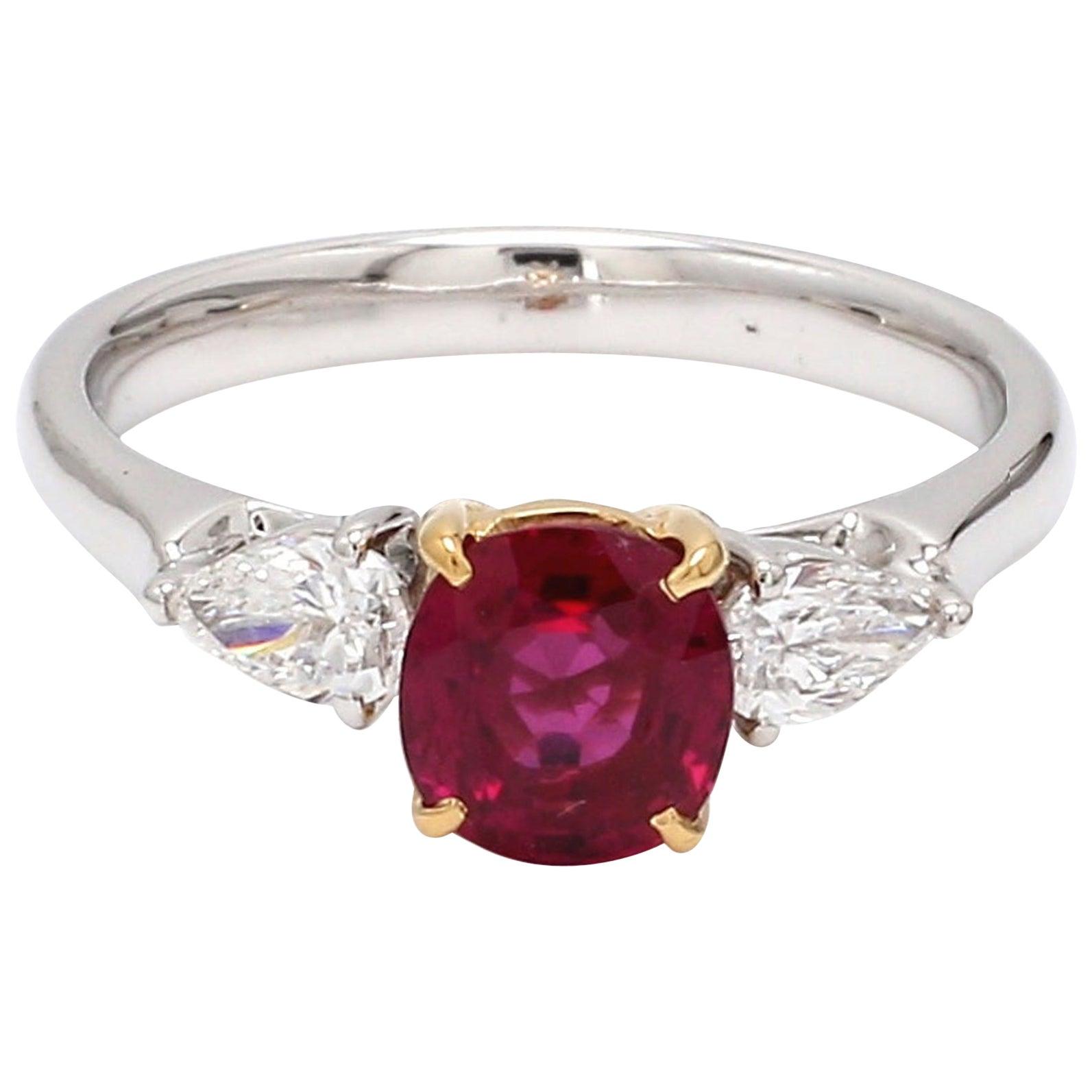 GIA Certified Burma No Heat Ruby Diamond 18 Karat White Gold Ring