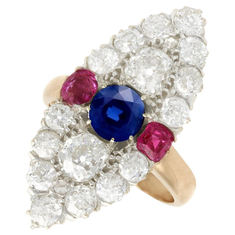 Victorian Diamond and Sapphire Ruby and Yellow Gold Marquise Ring For Sale