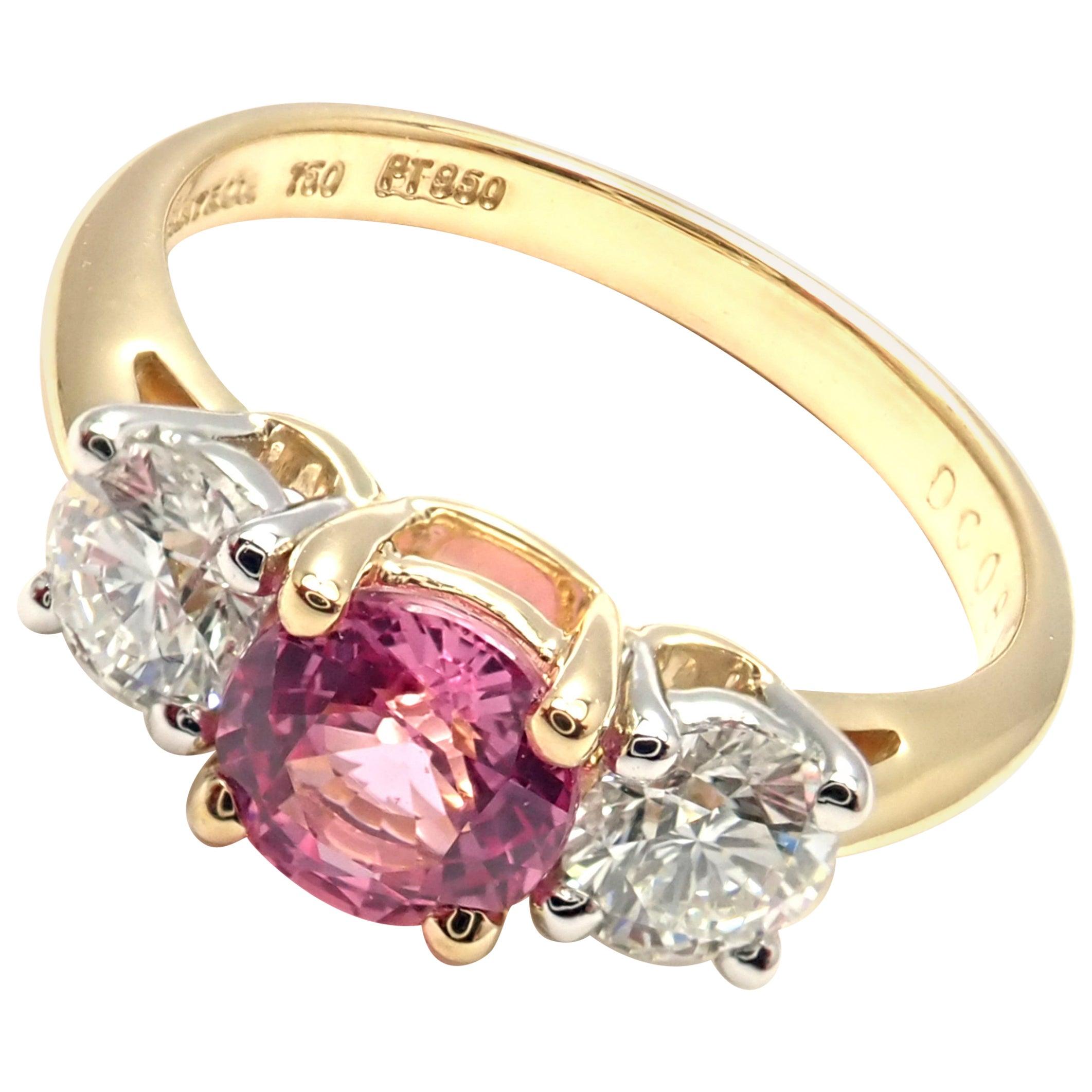 Tiffany & Co. Diamond Pink Sapphire Three-Stone Platinum Yellow Gold Band Ring