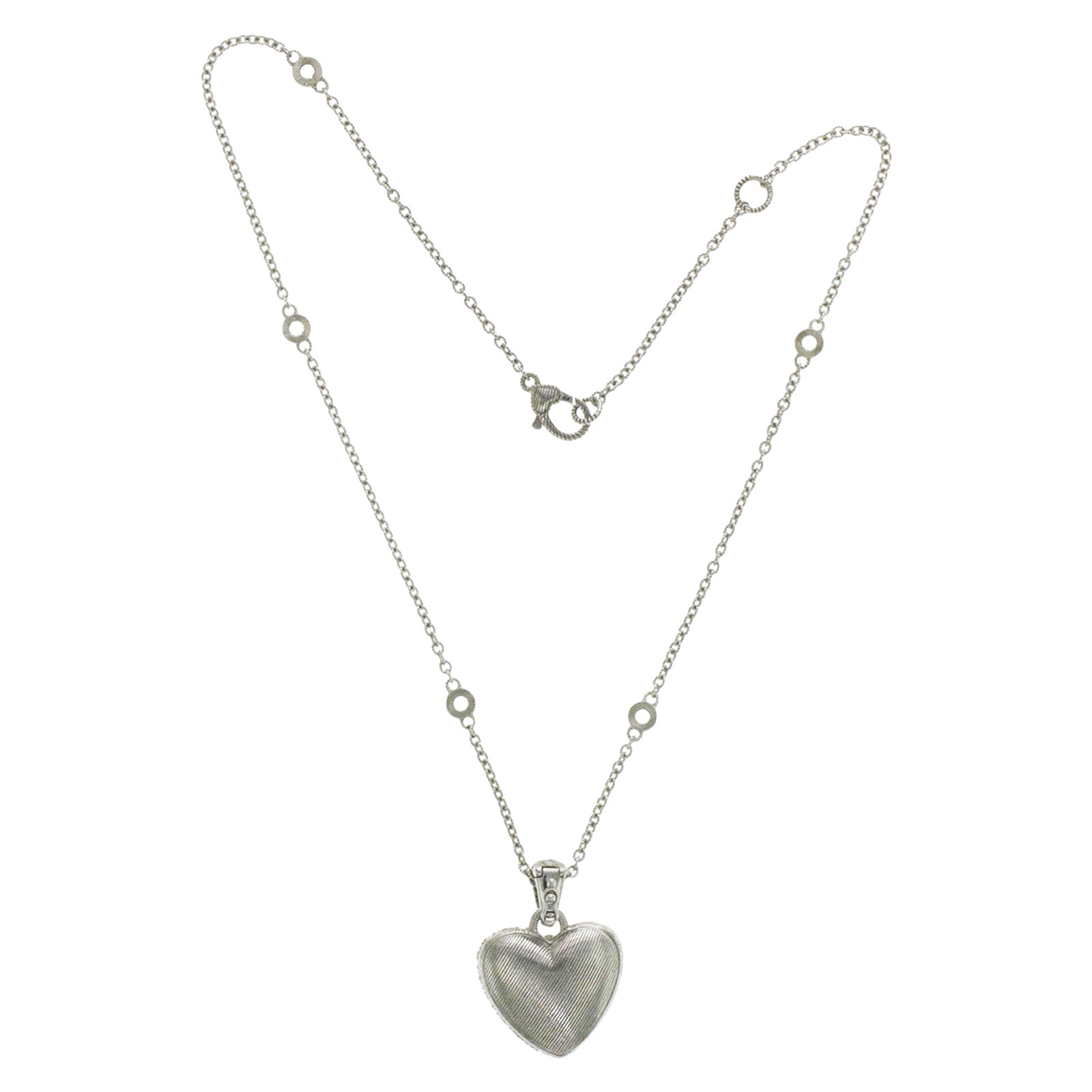 Judith Ripka 925 Sterling Silver Diamonique Heart Pendant Necklace