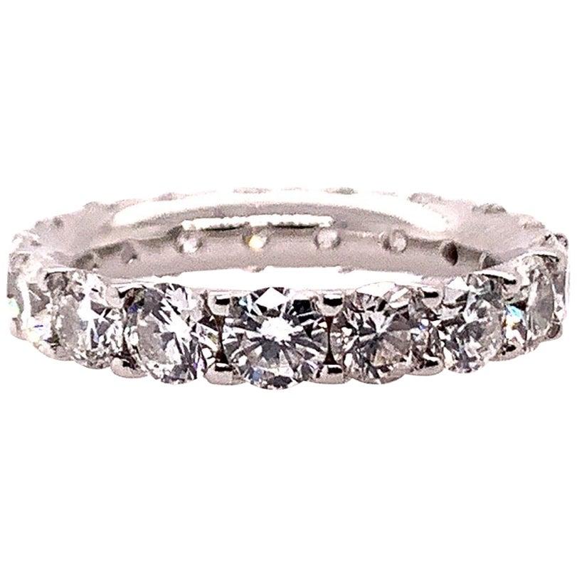 Platinum 4 Carat Round Brilliant Natural VS Diamond Eternity Engagement Band