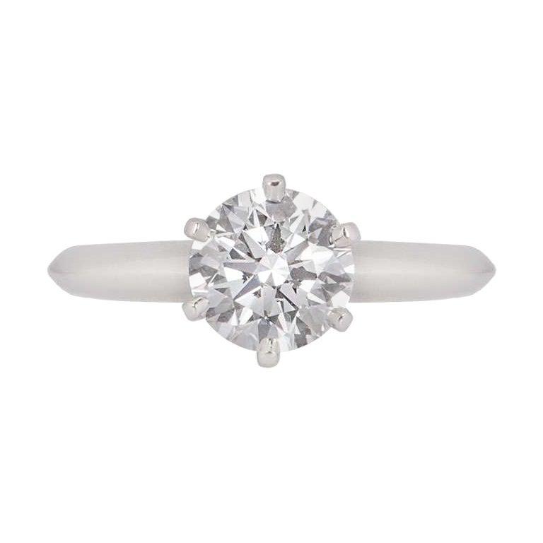 Tiffany & Co. Platinum Diamond Setting Solitaire Engagement Ring 1.27 Carat