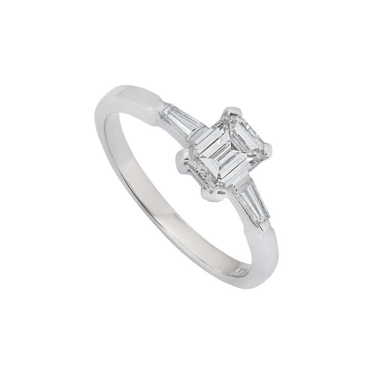 GIA Certified Emerald Cut Diamond Engagement Ring 1.18 Carat