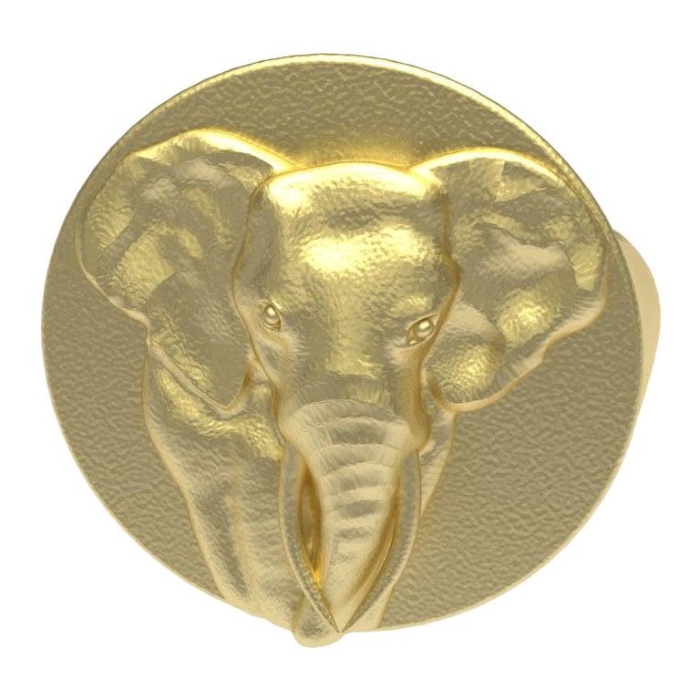 10 Karat Yellow Gold Elephant Tusks Signet Ring