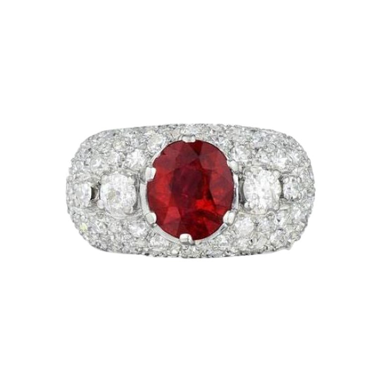 AGL Certified Natural Unheated Ruby Diamond Platinum Ring