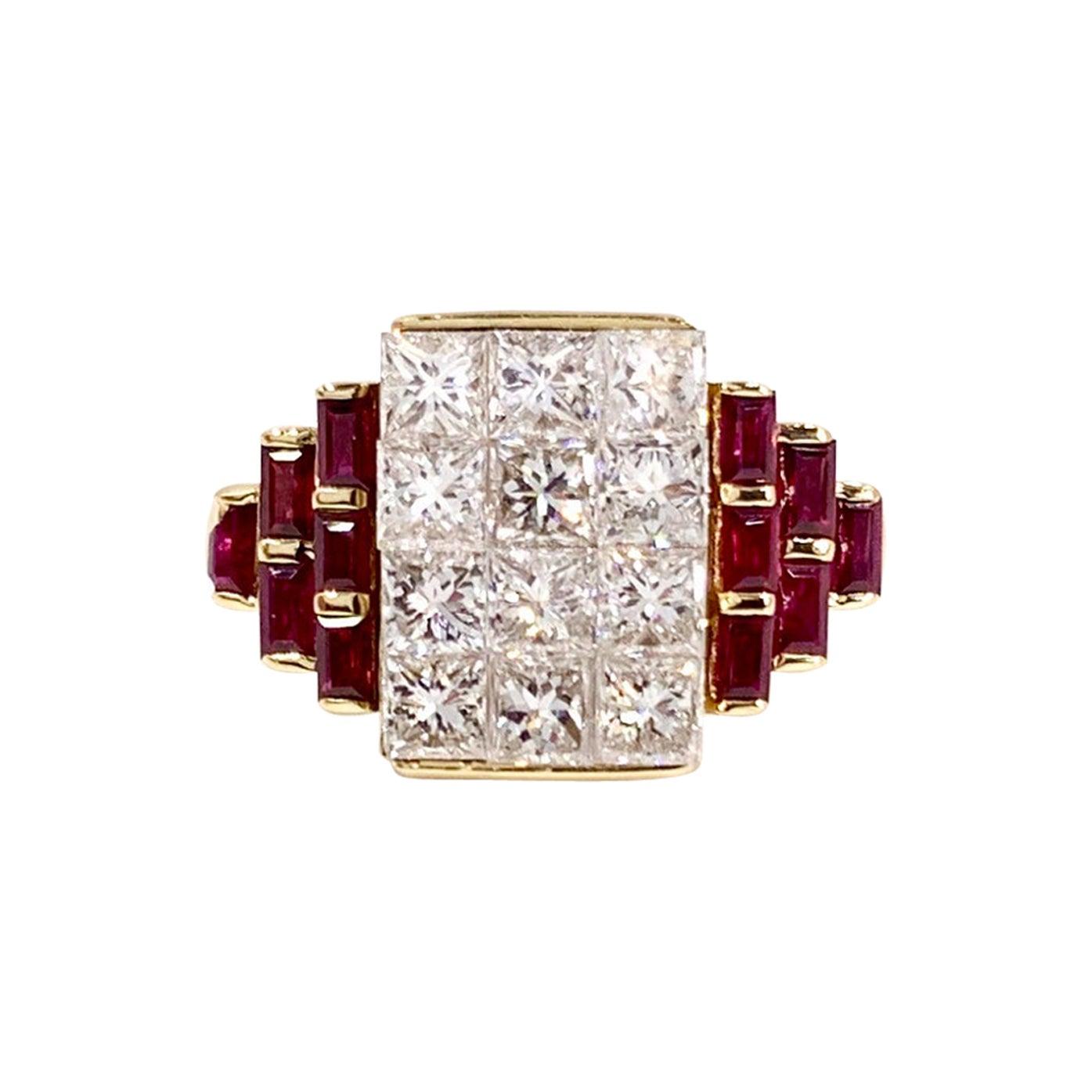 18 Karat Diamond and Ruby Cocktail Ring