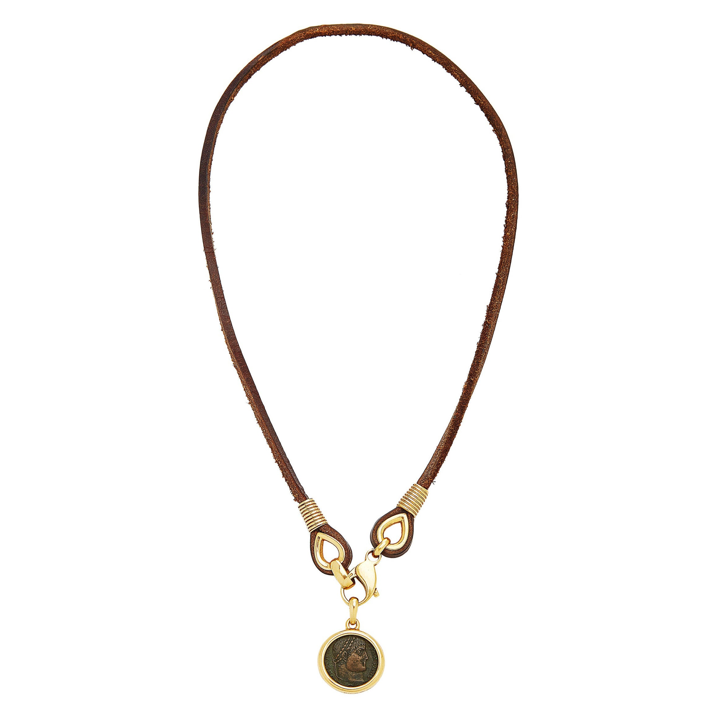 Bulgari Monete Gold Ancient Coin Leather Necklace