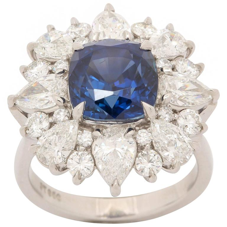 Unheated GIA Cert 5.98 Carat Burmese Sapphire Diamond Platinum Ring