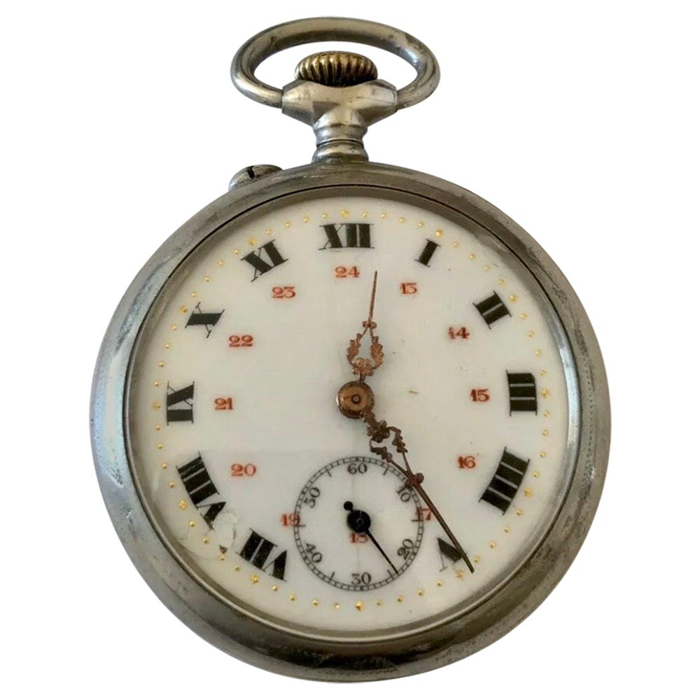 Antique Silver Enamel Dial Pocket Watch