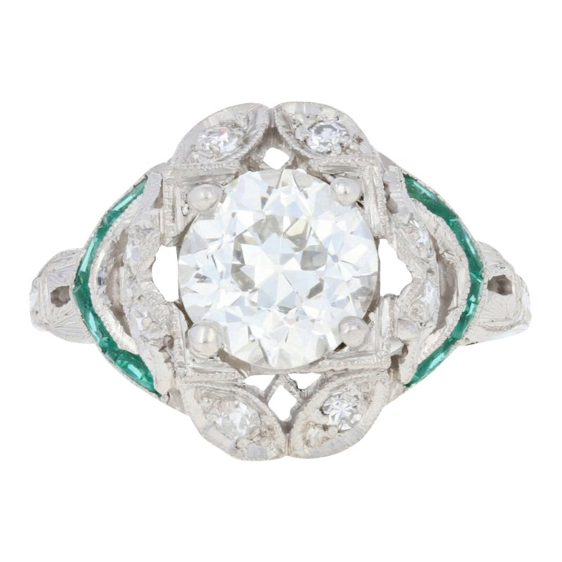 1.69 Carat European Cut Diamond and Simulated Emerald Art Deco Ring Platinum GIA