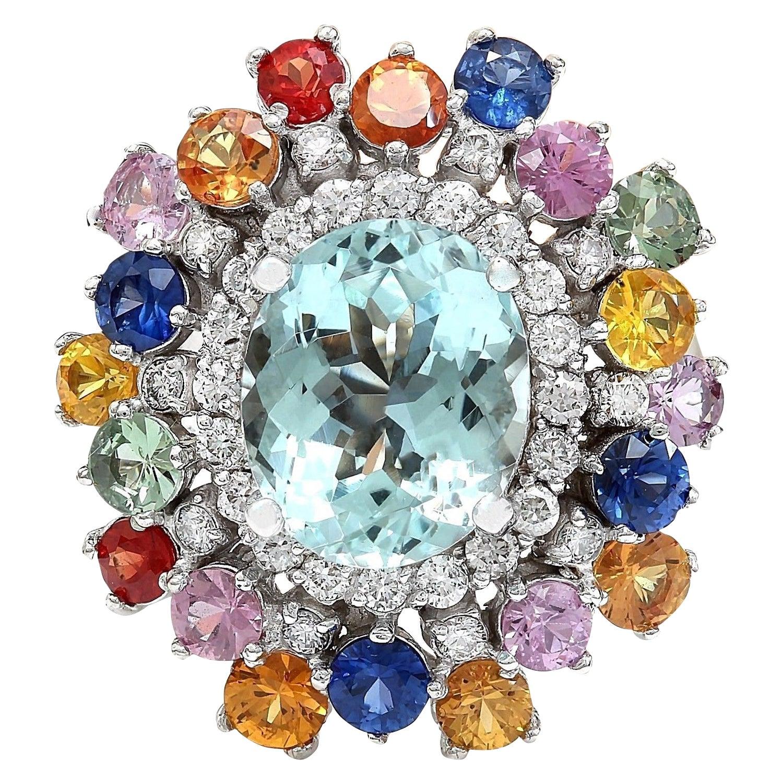 8.03 Carat Natural Aquamarine, Sapphire 18 Karat Solid White Gold Diamond Ring