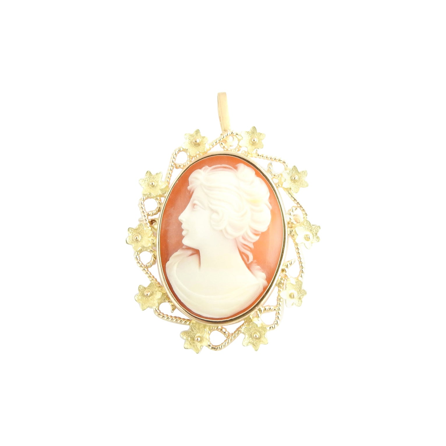 18 Karat Yellow Gold Cameo Brooch / Pendant