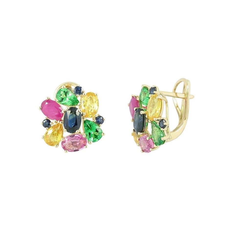 Fashion Pink / Yellow / Blue Sapphire Ruby Yellow Gold Earrings