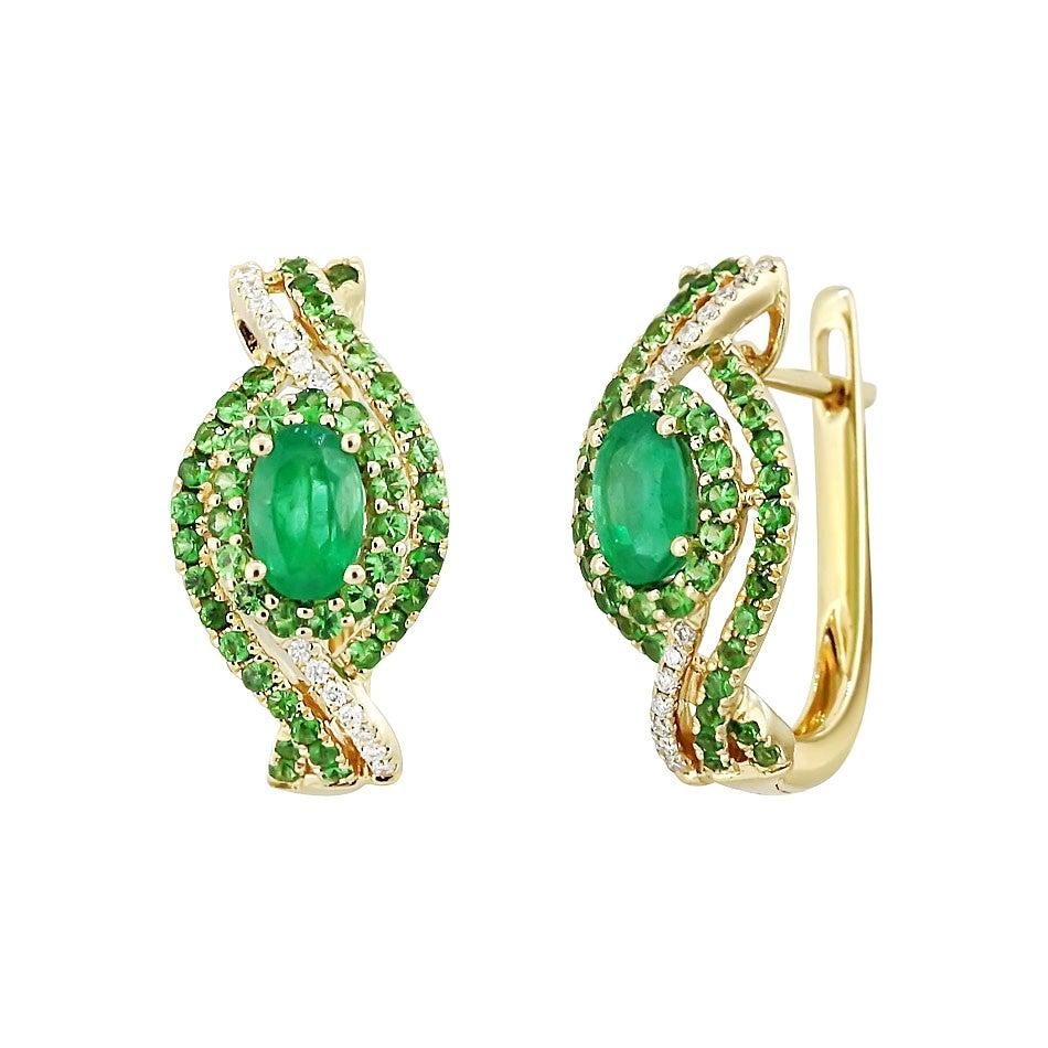 Fashion Emerald Tsavorite Diamond Yellow Gold Earrings
