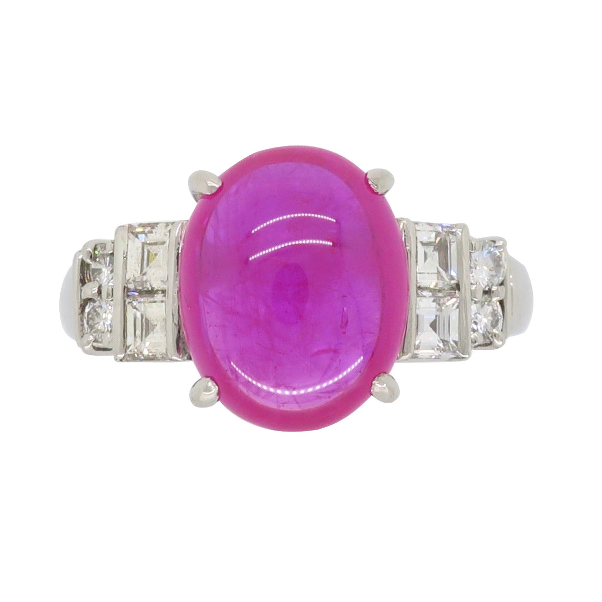 Cabochon Ruby and Diamond Ring in Platinum
