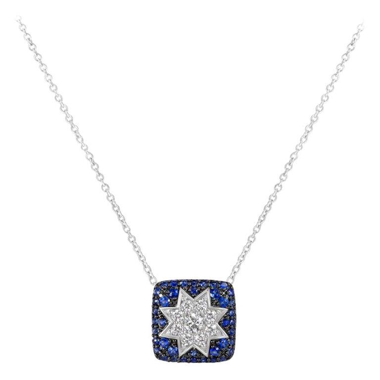 Rare Customize Blue Sapphire Diamond White Gold Necklace