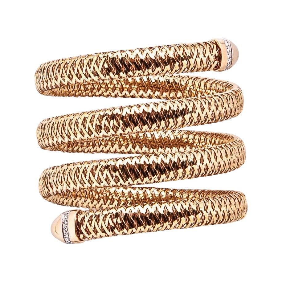 Roberto Coin Rose Gold and Diamond Primavera Flexible Bangle Bracelet