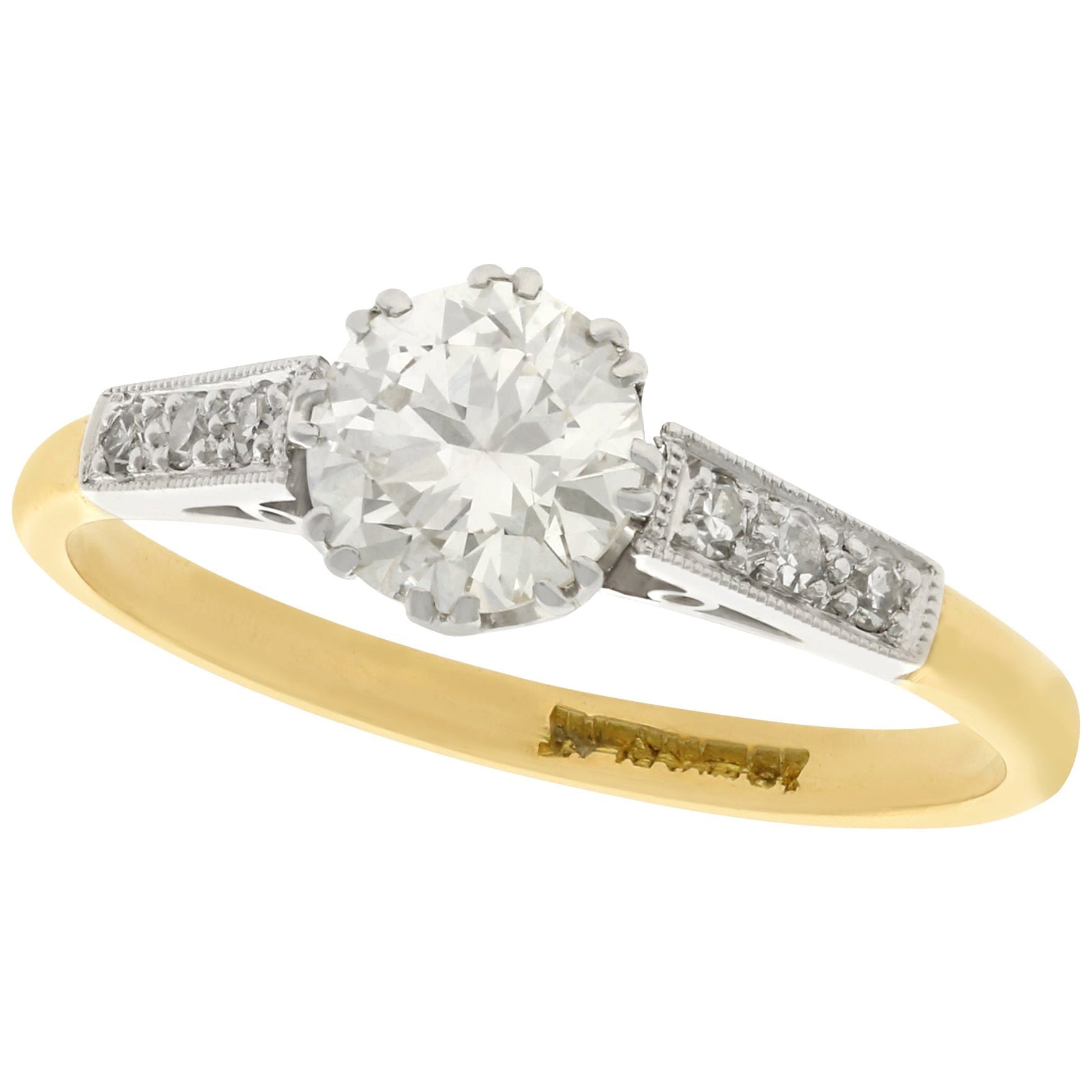 1940s Diamond and Gold Solitaire Engagement Ring