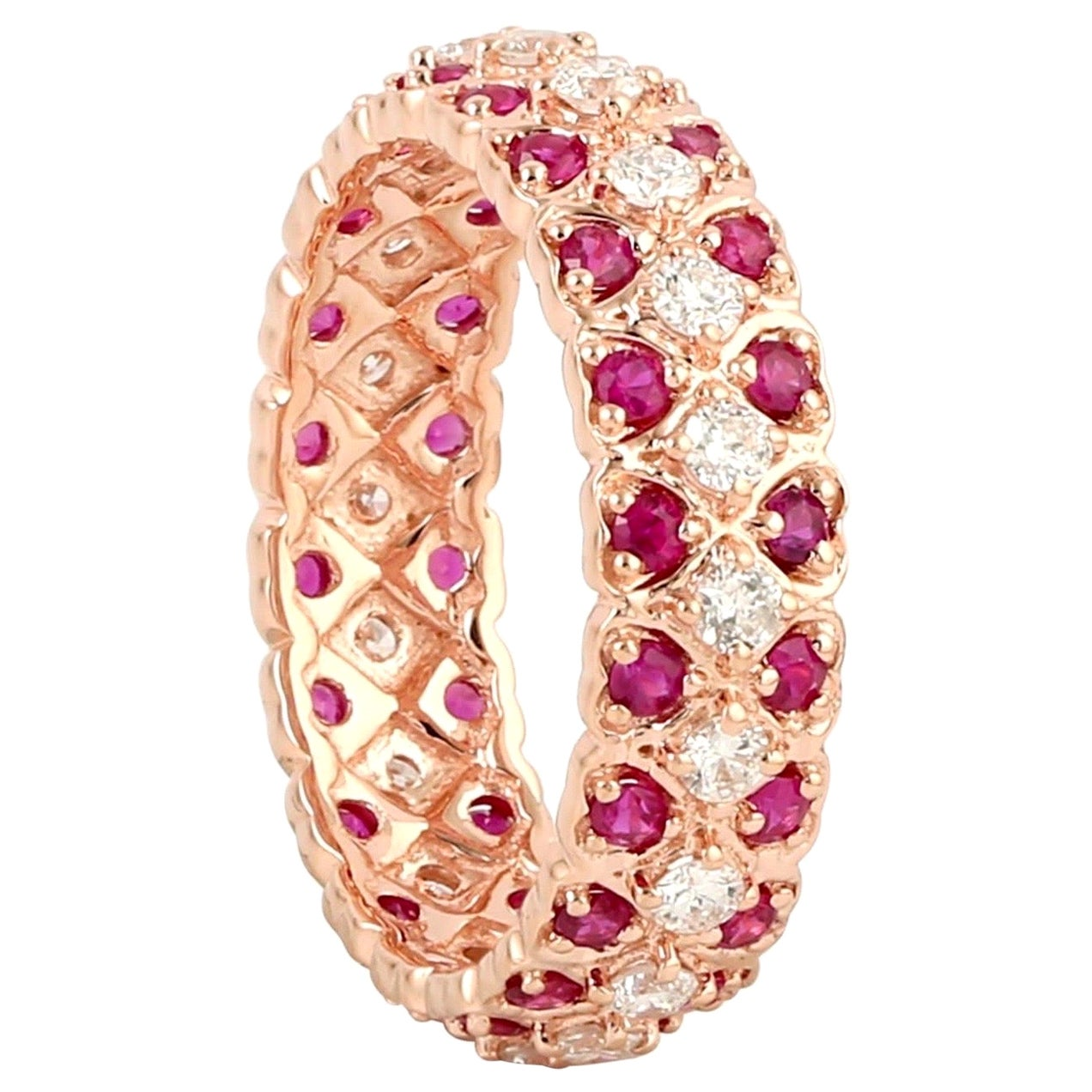 Ruby Diamond 18 Karat Gold Heart Eternity Ring