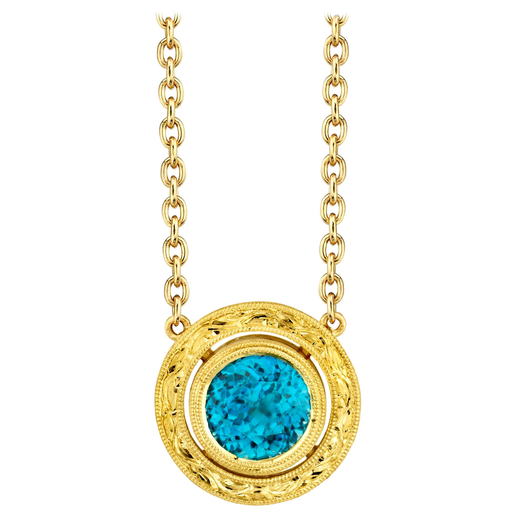 3.49 ct. Round Blue Zircon, 18k Yellow Gold Bezel Drop Pendant Chain Necklace