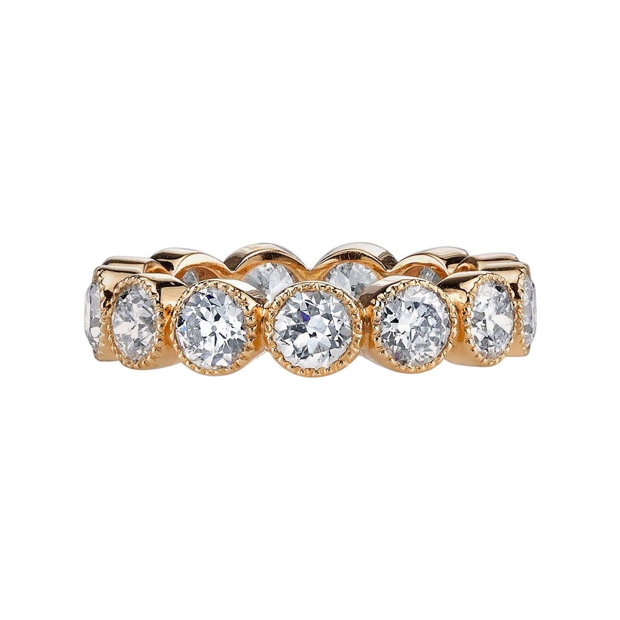 Old European Cut Diamonds Set in a Handcrafted Gold Eternity Band