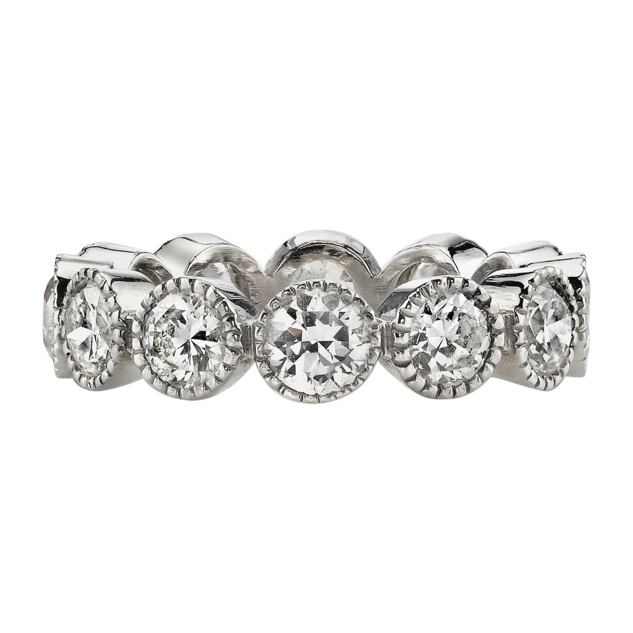 Old European Cut Diamonds Set in a Handcrafted Platinum Eternity Band