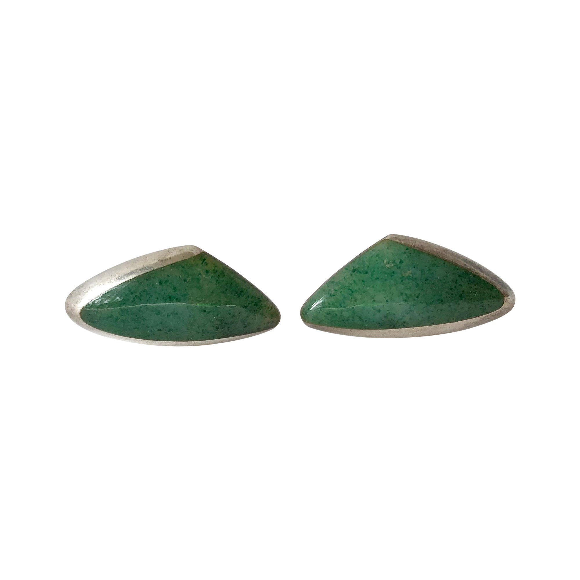 Enrique Ledesma Aventurine Sterling Silver Mexican Modernist Cufflinks
