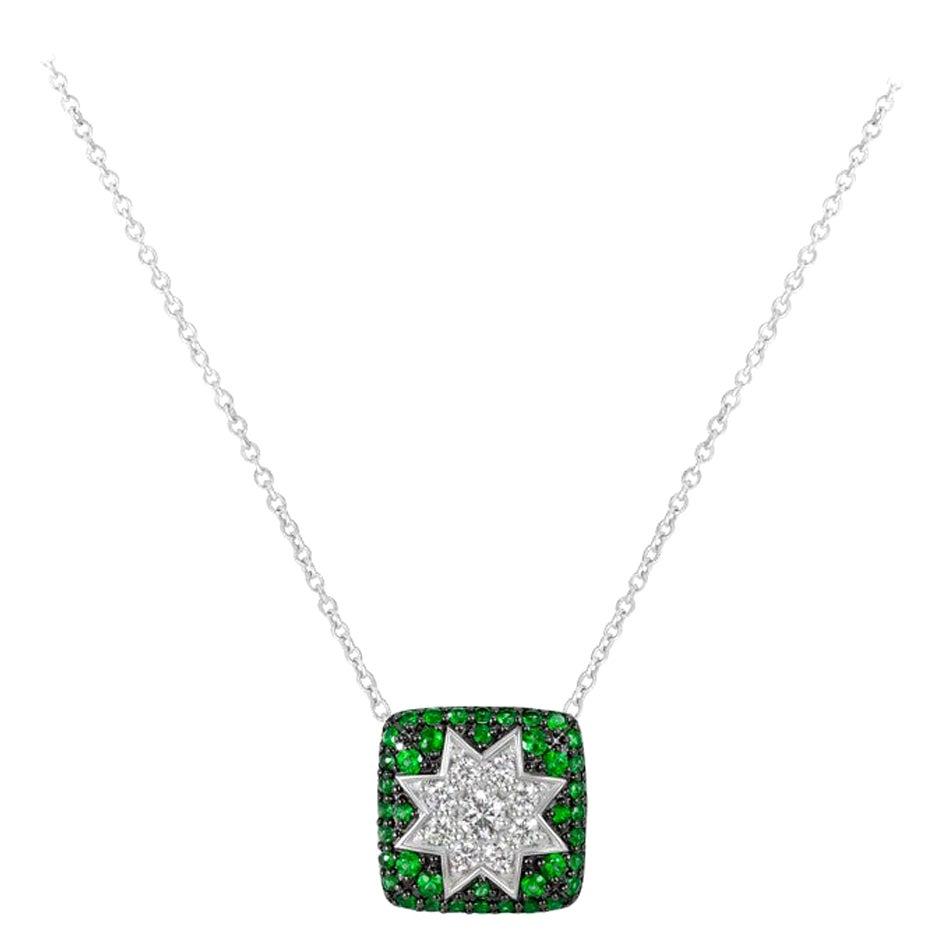 Rare Customize Tsavorite Diamond White Gold Necklace