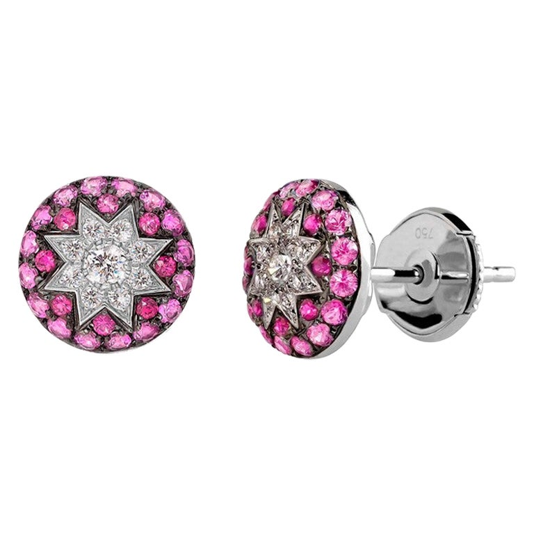 Unique Ruby Pink Sapphire Diamond White Gold Alatyr Star Earrings