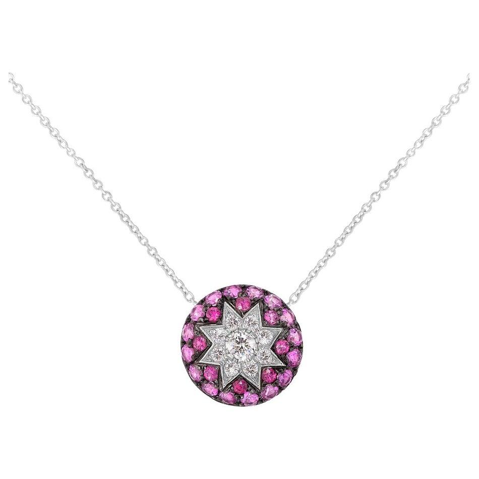 Rare Customize Ruby Pink Sapphire Diamond White Gold Necklace