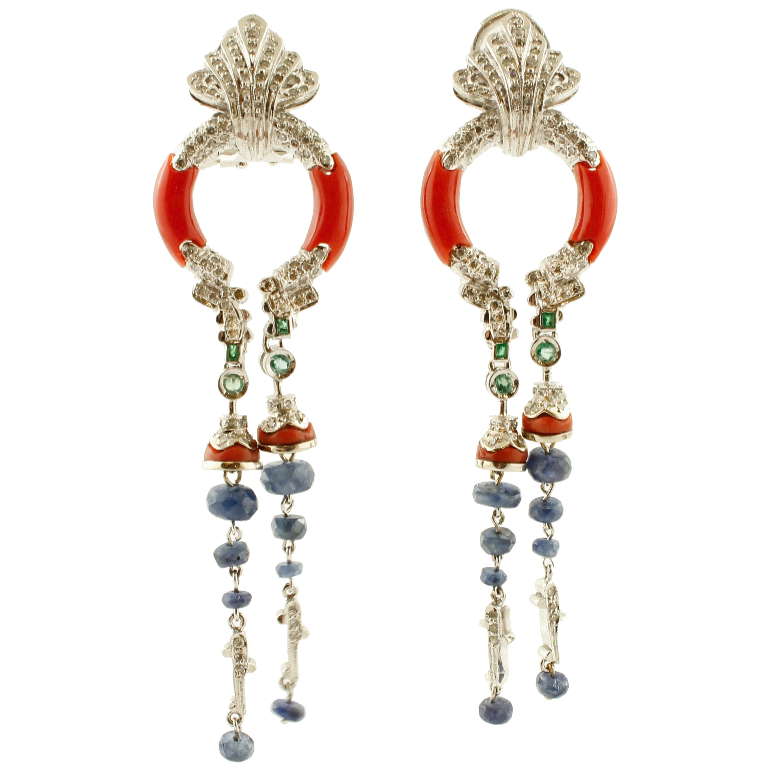Diamonds, Blue Sapphires, Emeralds, Coral, White Gold Clip-On Fashion Earrings