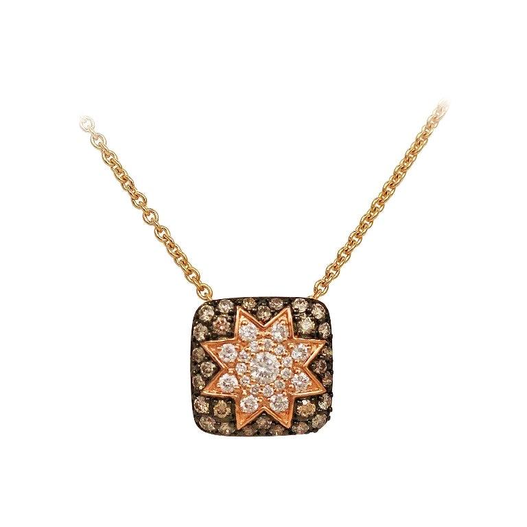 Rare Customize Cognac Diamond Yellow Gold Necklace