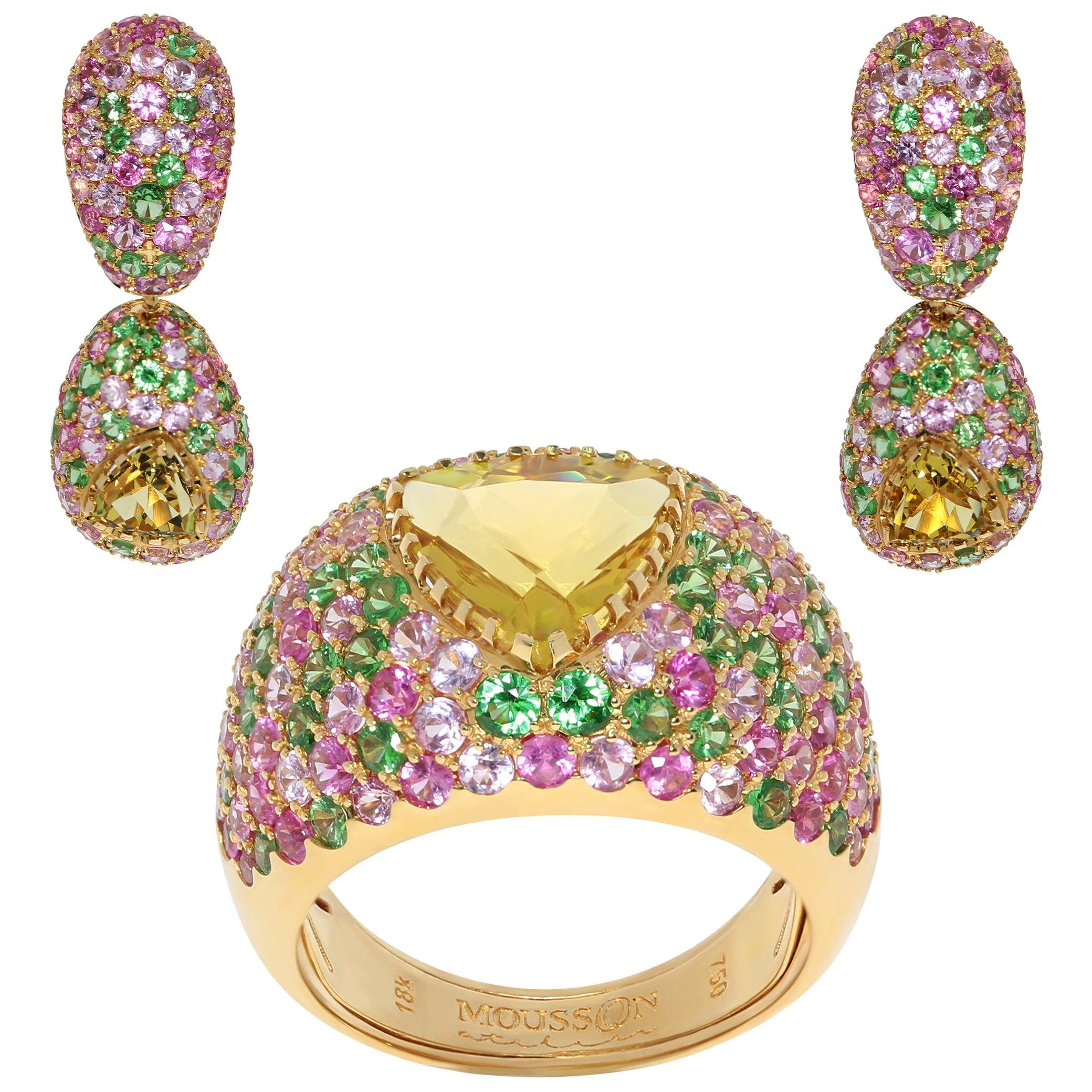 Beryl Pink Sapphires Tsavorites Yellow 18 Karat Gold Riviera Suite