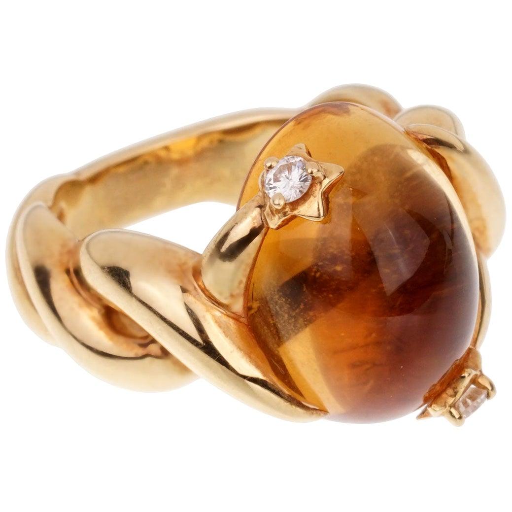 Chanel Comete Citrine Diamond Yellow Gold Ring