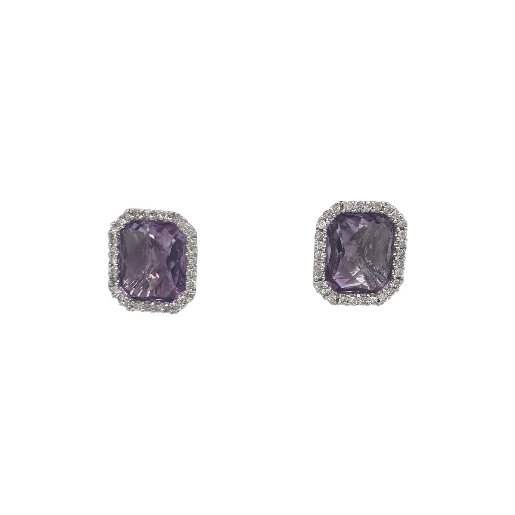 Amethyst Diamond Halo Stud Earrings 0.55 Carat 14 Karat White Gold