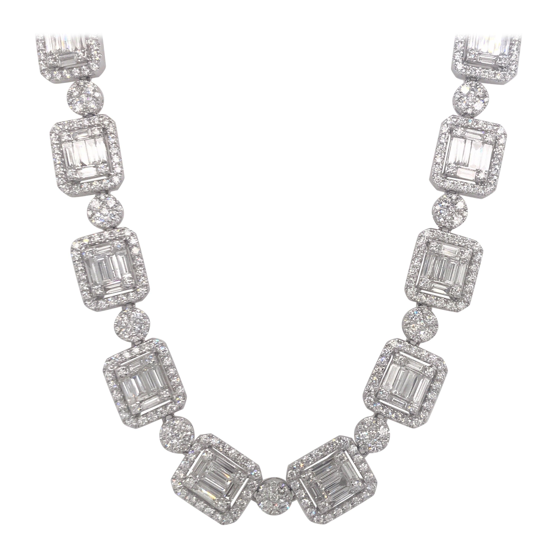 Diamond Illusion Necklace 28.60 Carat 14 Karat White Gold