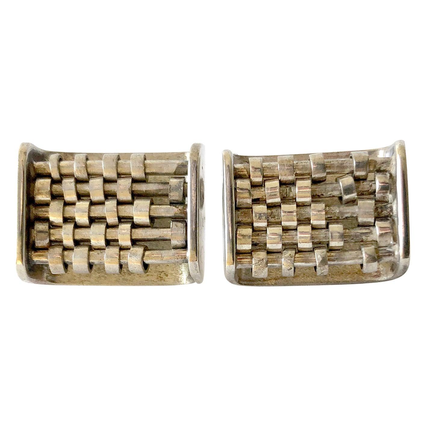Rare John Syzmak Sterling Silver American Modernist Kinetic Abacus Cufflinks