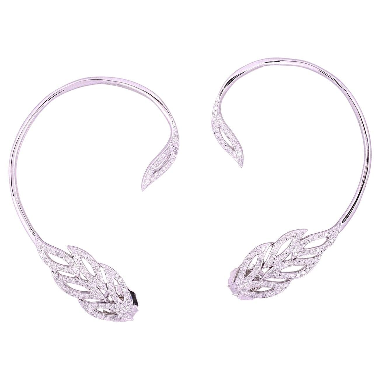 Feather 18 Karat Gold Diamond Ear Climber Earrings