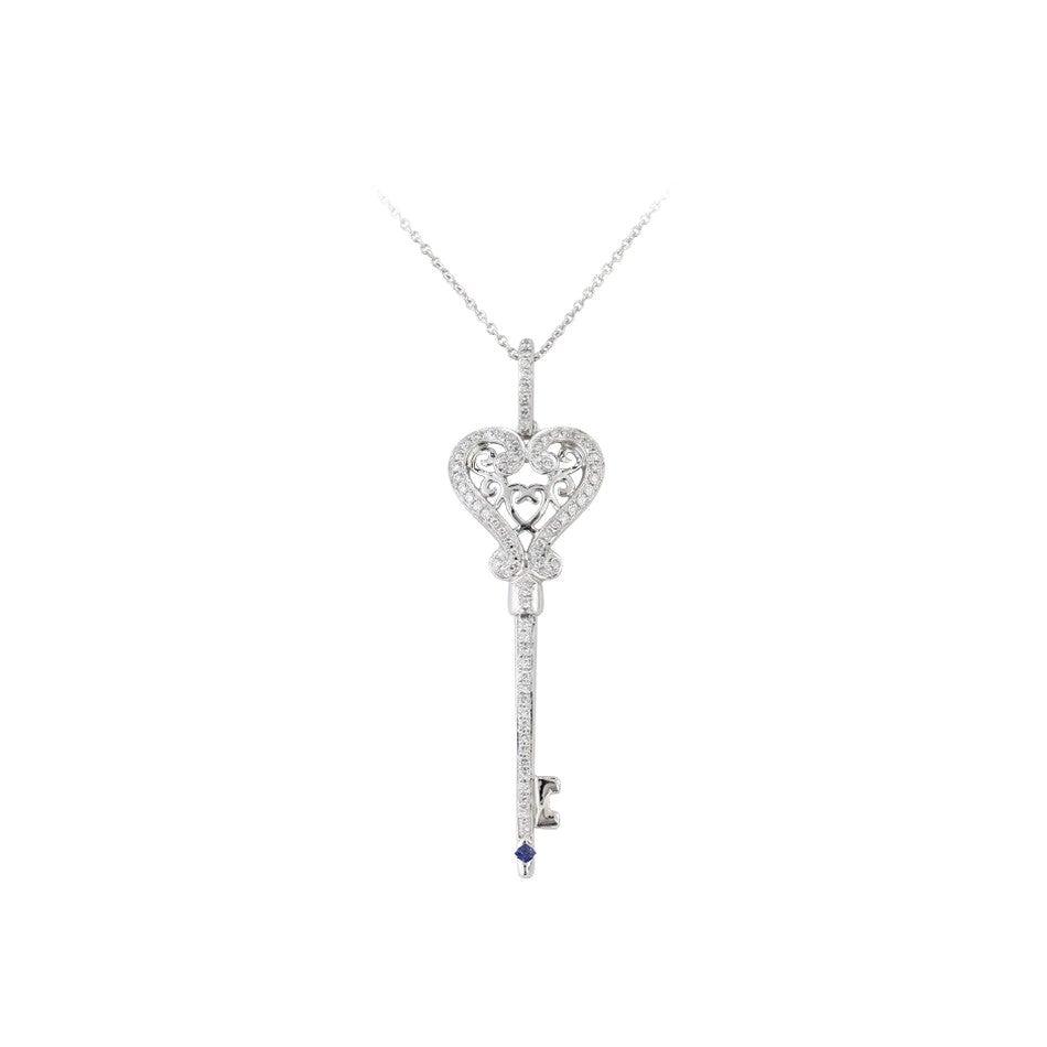 Blue Sapphire Diamond White Gold Necklace
