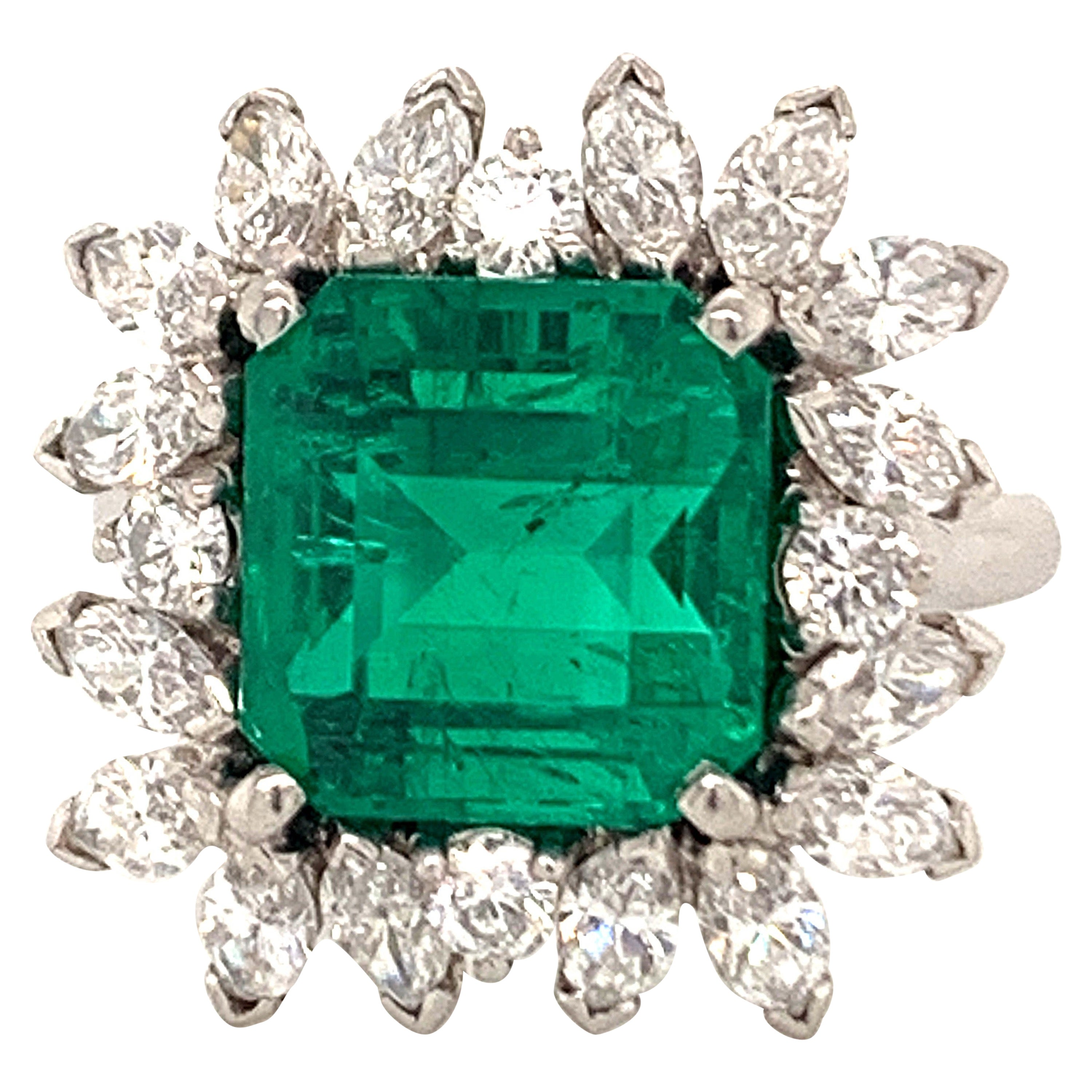 AGL Certified 5.05 Carat Colombian Emerald Diamond Platinum Ring